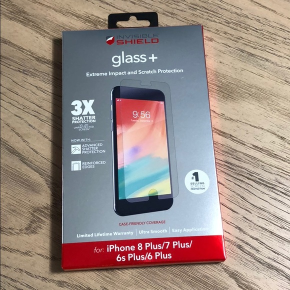 new product 89009 ee2e5 Zagg Invisible Shield Glass + iPhone 8 7 6 Plus NWT